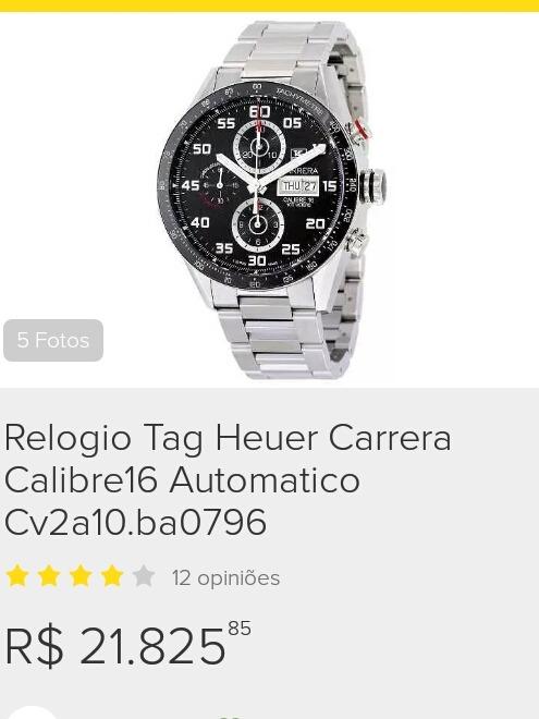 c51e64dc921 Relogio Tag Heuer Carrera Calibre 16 Automatico - R  12.000