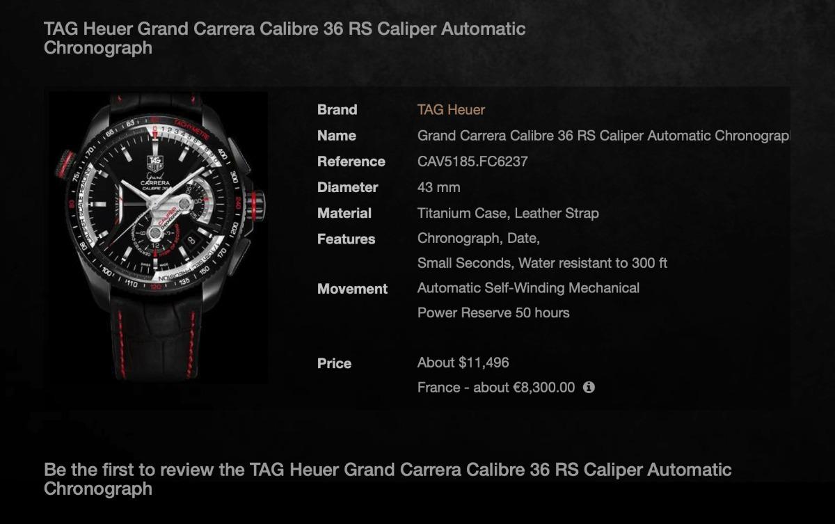 1e05826c8e3 relógio tag heuer grand carrera rs - calibre 36 - titanium. Carregando zoom.