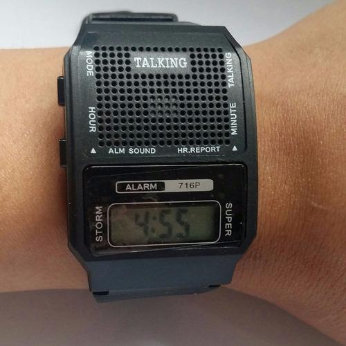 relógio talking fala hora em português p/deficiente visual