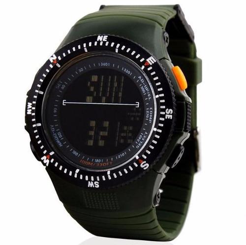 relógio tático militar skmei display black prova d`água