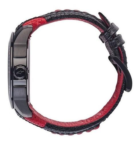 relogio tech h3 pulseira couro vermelho e preto alpinestars