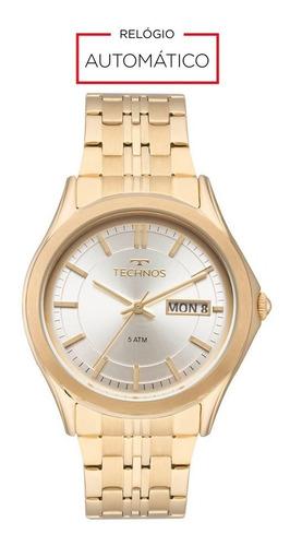 relógio technos automático dourado 8205oc/4k clássico