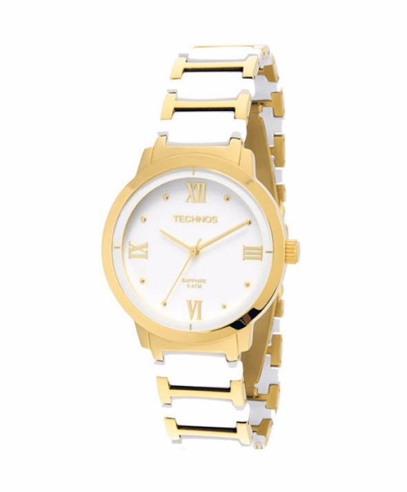 94ad51b2263c3 Relógio Technos Ceramic Sapphire 2035lwg 4b Branco dourado - R  399 ...