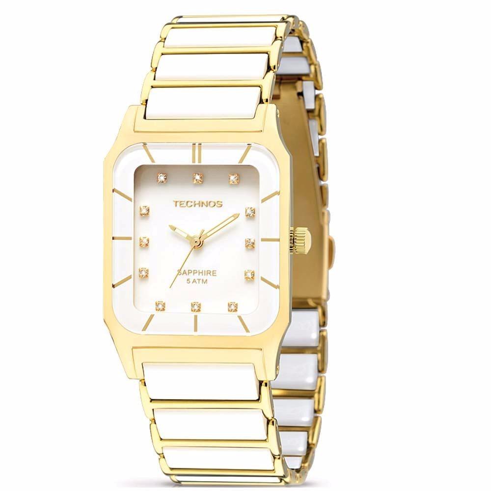 f264ab23b0527 relógio technos ceramic sapphire 2036lmp 4b branco dourado. Carregando zoom.