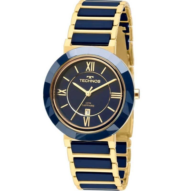 5132b4a0bc37b relógio technos ceramica safira azul e dourado 2015ce 5a. Carregando zoom.