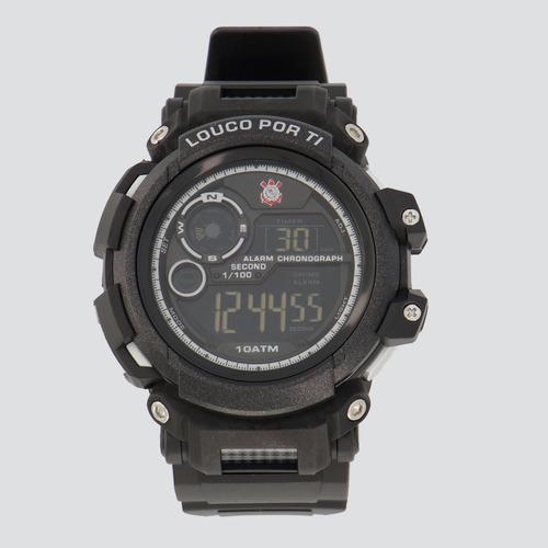 relógio technos corinthians escudo preto