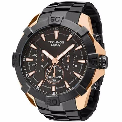 610d9099d9a Relógio Technos Cronógrafo Preto rose Js20ai 5p - R  599