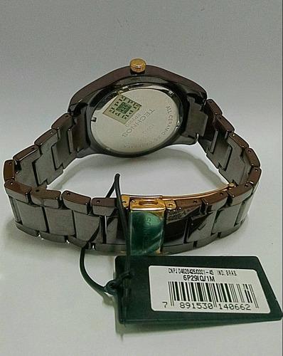 relogio technos de ceramica marrom 6p29la/1m