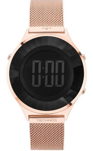 relógio technos digital crystal rose feminino bj3851af/4p