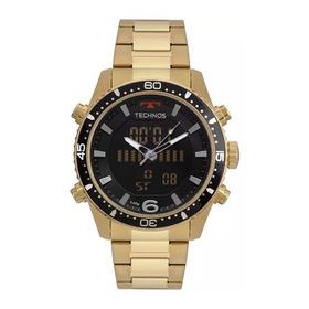 Relógio Technos Dourado Anadigi Cronógrafo Bjk203aad/4p Orig