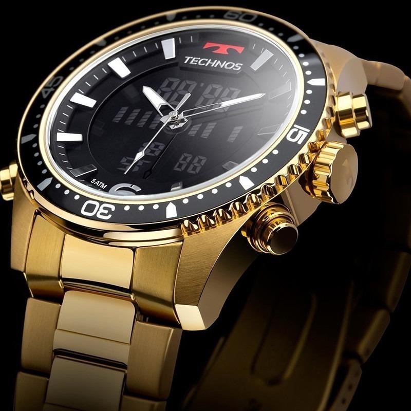 53e5fc95d22c8 relógio technos dourado bjk203aad 4p digital e analogico. Carregando zoom.
