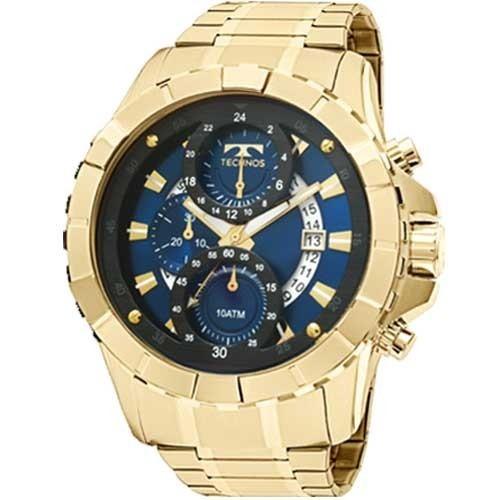 ee9e95ae551cb Relógio Technos Dourado Crono Visor Azul Js15em 4a + Frete - R  939 ...