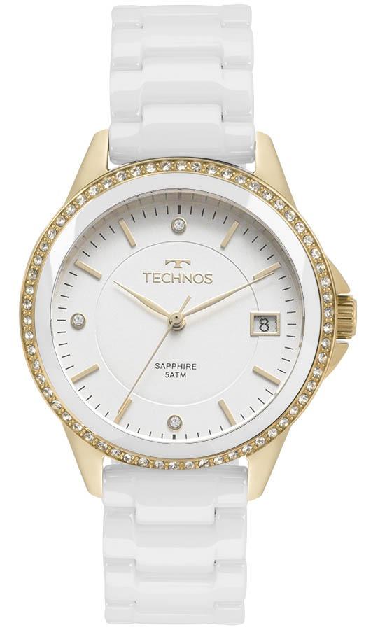 23830993d03ff relógio technos dourado e branco ceramic 2315kzs 4b. Carregando zoom.