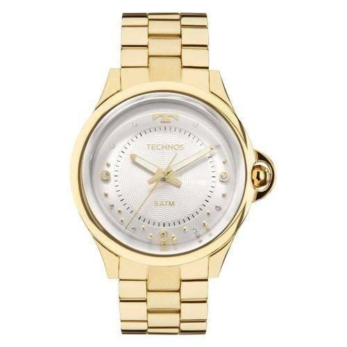 relógio technos dourado feminino elegance crystal 2039bm/4k