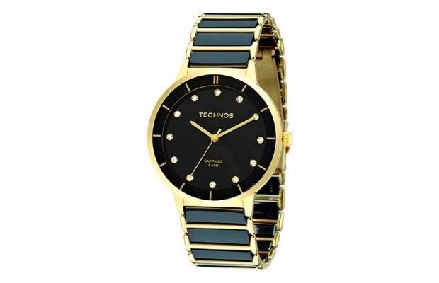 7c36561626e Relógio Technos Elegance Ceramic Preto dourado 2036lmo 4p - R  449 ...