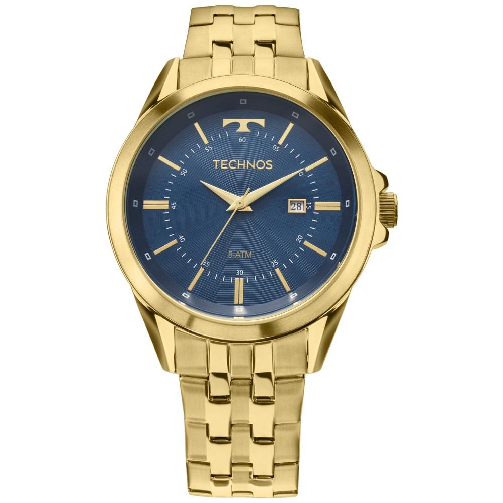 91c75c9da3efd relógio technos executive dourado fundo azul 2115kzc 4a. Carregando zoom.