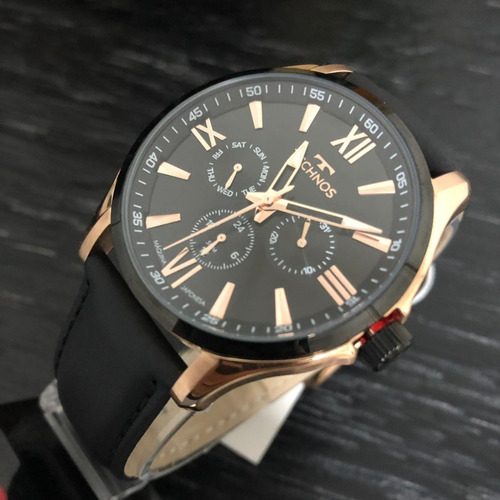relógio technos executivo masculino 6p29ajw/8p rosê couro
