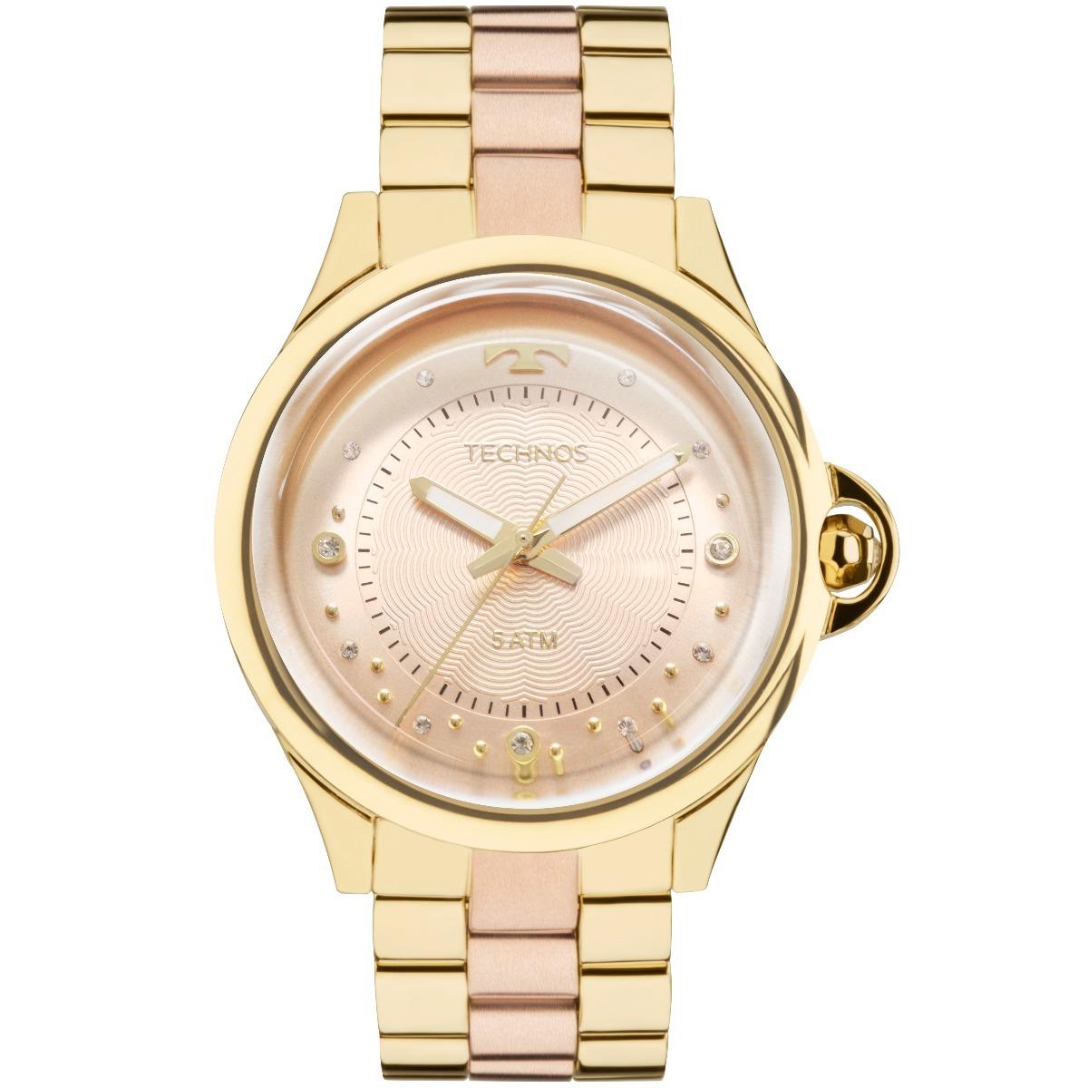9723bca767e Relogio Technos Feminino Dourado Elegance 2039bl 4t - R  299