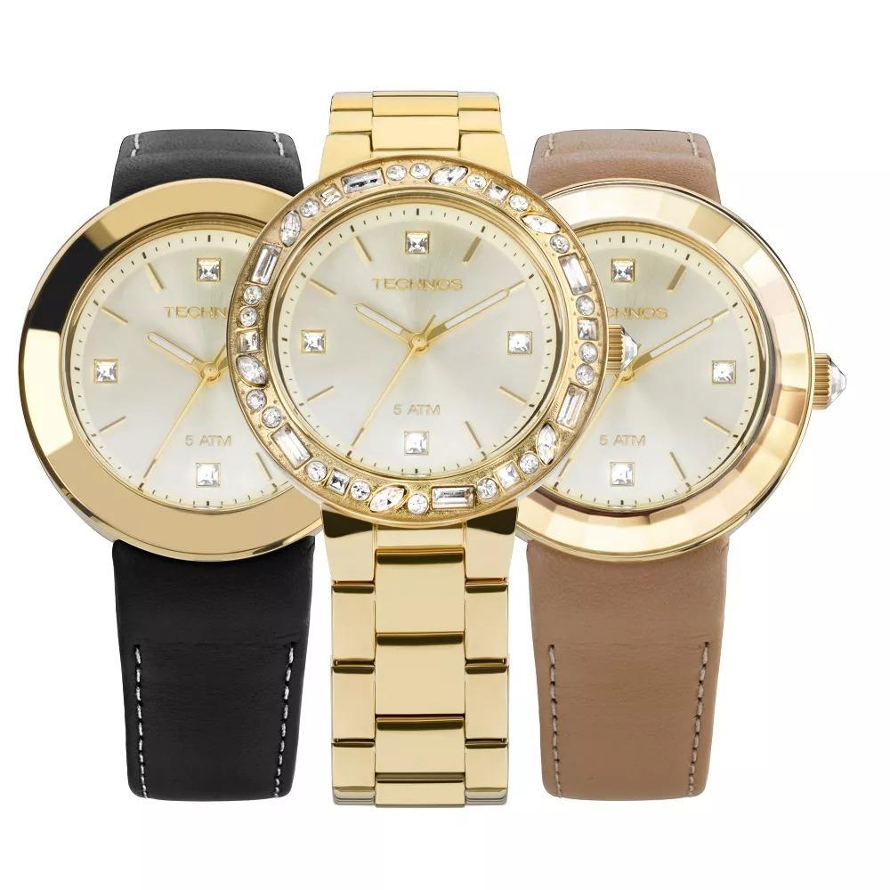 6b0a3d6033f Kit Relógio Technos Feminino Crystal Swarovski 2039aw 4x - R  924