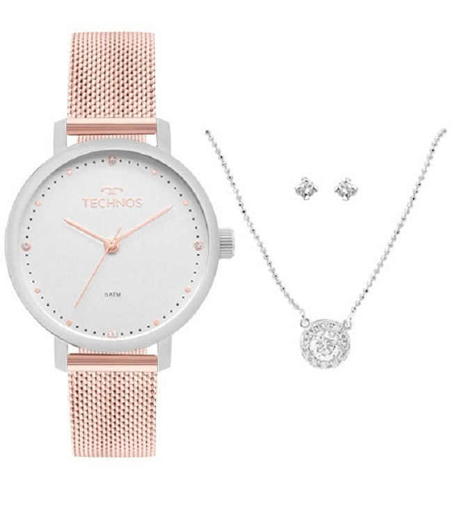 cb762f9cd1dd1 Relógio Technos Feminino Fashion 2035mmm k5k Prata Rose - R  438,90 ...