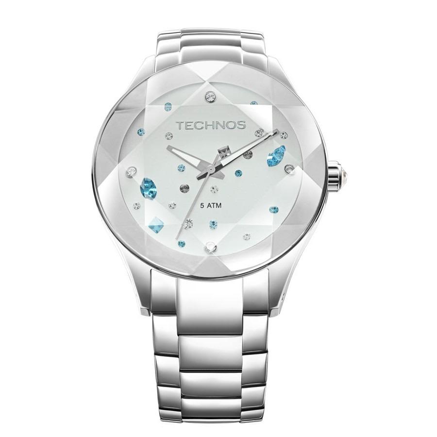 Relógio Technos Feminino Crystal Swarovski 2039av 1k Prata - R  549 ... 9067e5d7d7