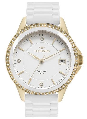 relógio technos feminino branco ceramic 2315kzs/4b original