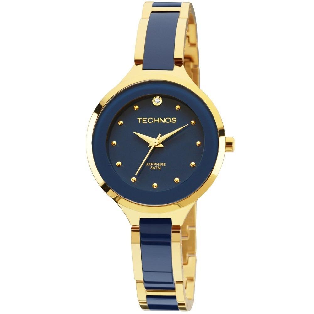 5bc6ee5fe8563 relógio technos feminino ceramica azul 2035lyv 4a. Carregando zoom.