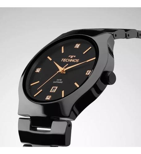 relógio technos feminino cerâmica preto gn10au/4p c/ nfe
