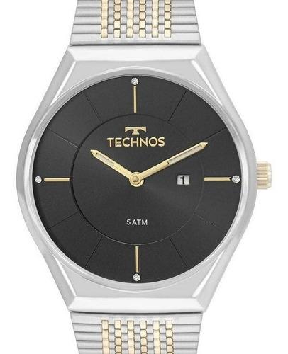 relógio technos feminino clássico prata