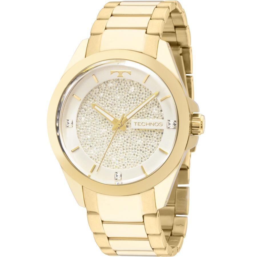 aefb47861be12 Relógio Technos Feminino Crystal Swarovski 203aaa 4k - R  365,00 em ...