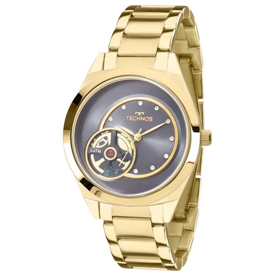 66f90f6bdd9 relógio technos feminino dourado fashion trend analógico 203. Carregando  zoom.