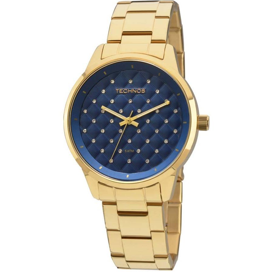 68f986906d2be relógio technos feminino dourado fundo azul 2035mbw 4a. Carregando zoom.