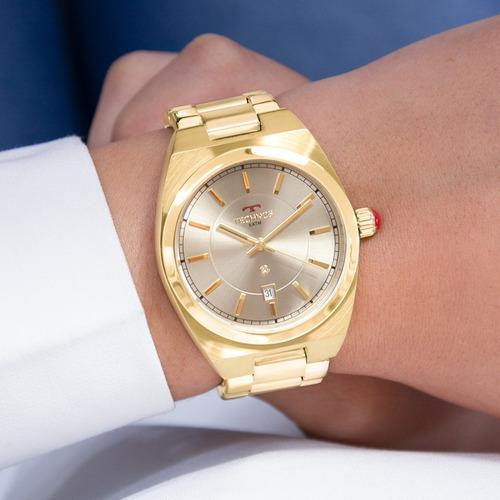 relógio technos feminino dourado original luxo nf 2117lat/4c