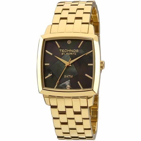 143864e7a7f Relógio Technos Feminino Dourado Quadrado 2036lnj 4p Wr 50m  - R  408