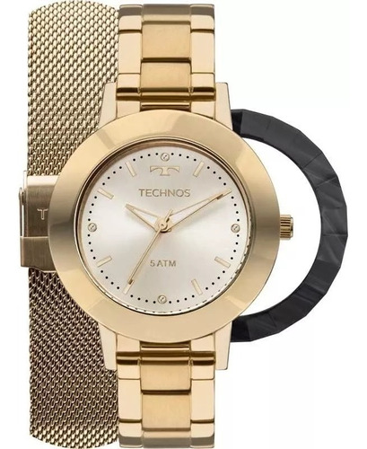 relógio technos feminino dourado troca pulseira 2035mlj/t4x