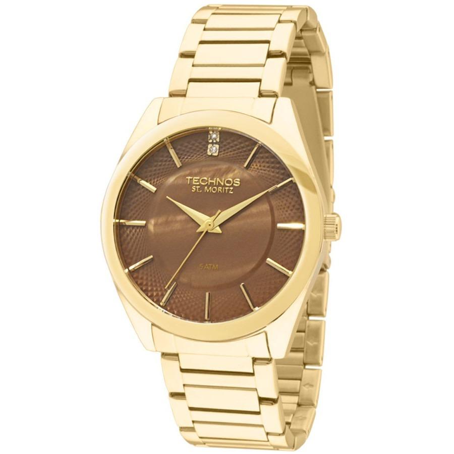 relógio technos feminino elegance 2036lou 4m dourado marrom. Carregando  zoom. 66a8278bfb