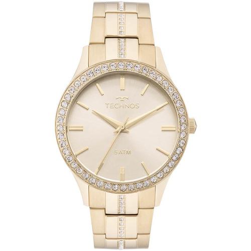 relógio technos feminino elegance crystal dourado original