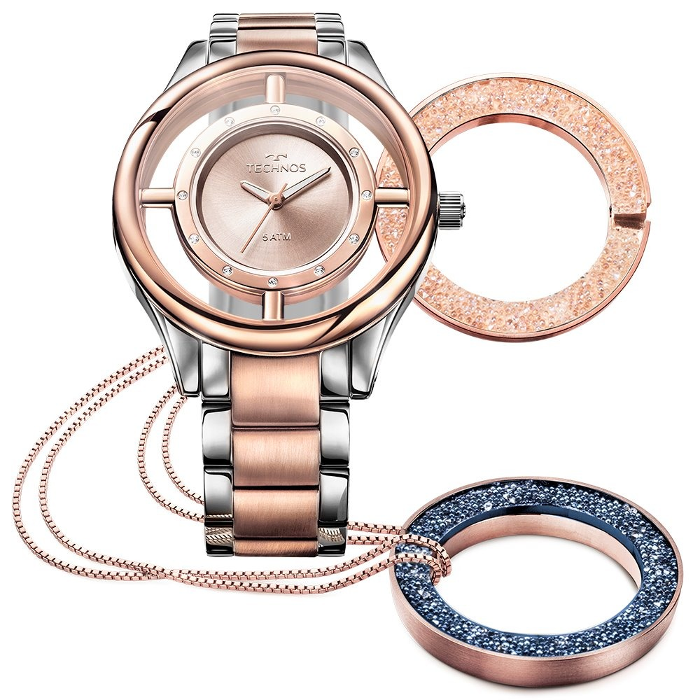 relógio technos feminino elegance crystal rose gl30fn 5a. Carregando zoom. af68438bdb