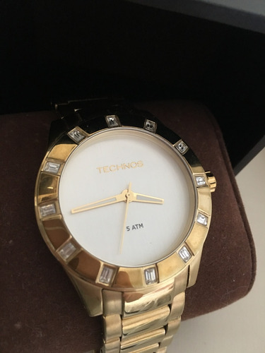 relógio technos feminino elegance crystal swarovski dourado