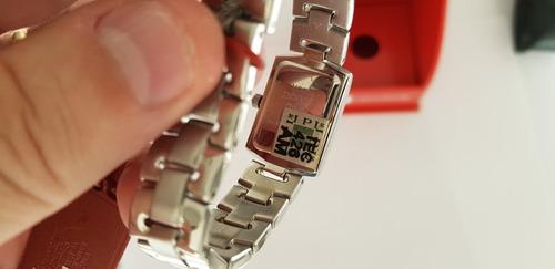relógio technos feminino na caixa novo todo aço inox lindo!!