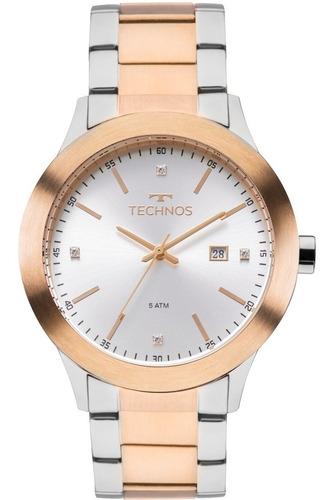 relógio technos feminino prata / rose  - 2115mkp/5k