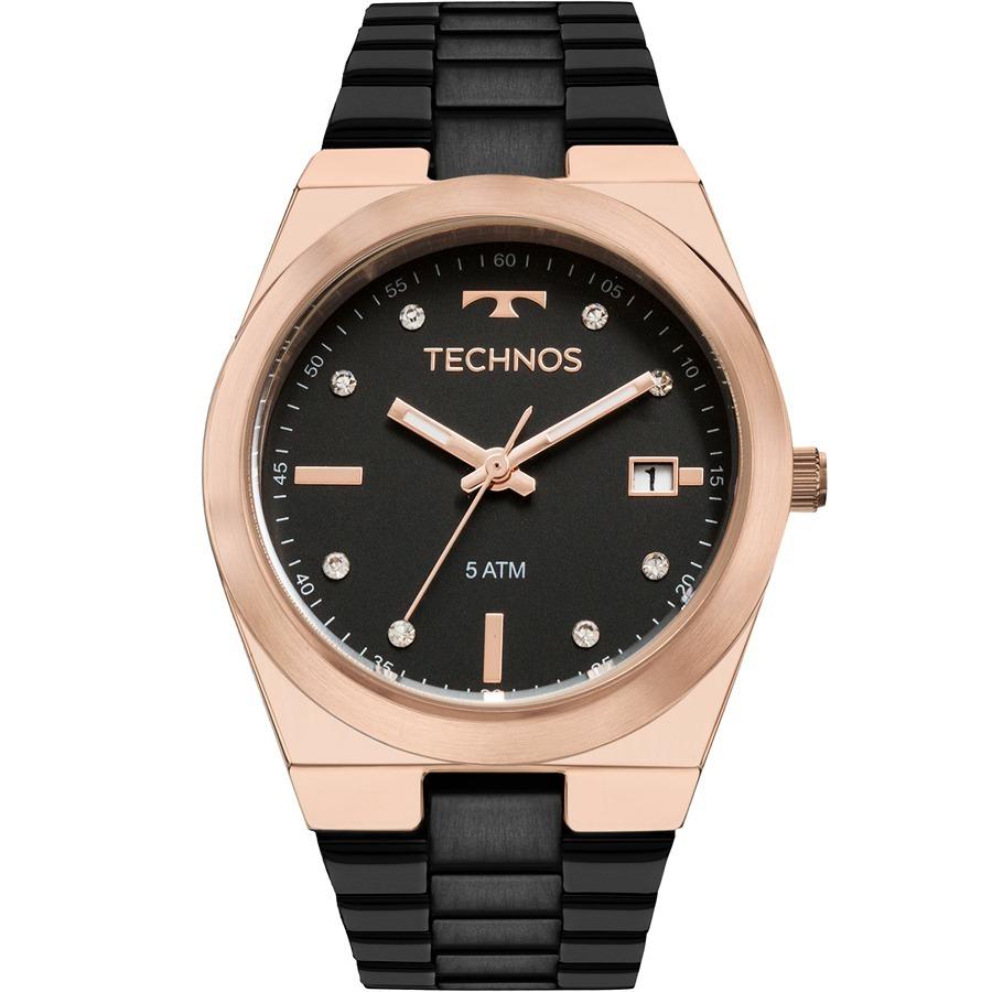 01763854ac958 relógio technos feminino preto rosê fosco casual 2115mnj 4p. Carregando  zoom.