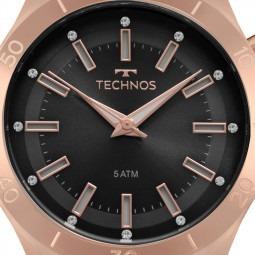 relógio technos feminino preto / rose silicone y121e3ab/8p