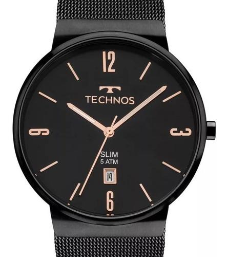 relógio technos feminino preto slim aço inox gm10yj/4p c/ nf