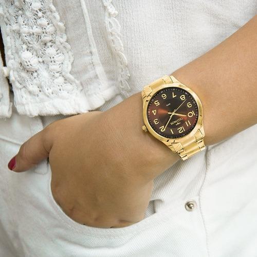 relógio technos feminino promoção dourado marrom 2035mpv/4m