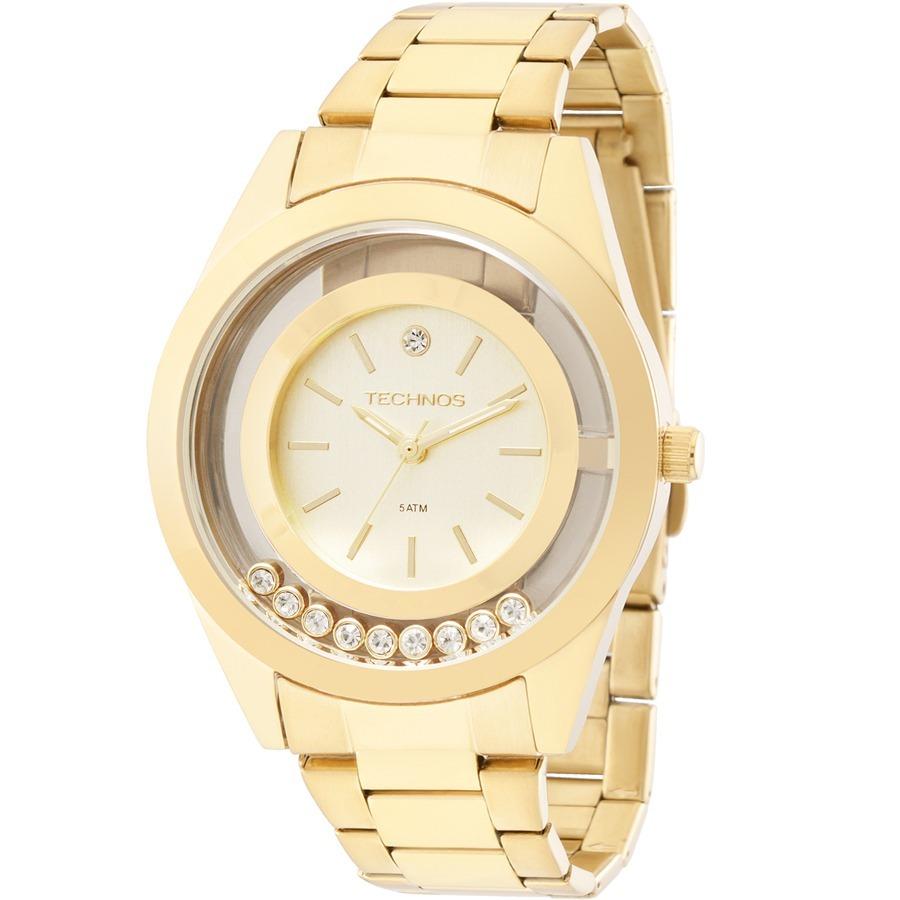 db0ccbfe61e89 relógio technos feminino trend dourado com strass 2036meo 4x. Carregando  zoom.