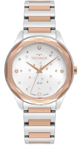 relógio technos femininp rose elegance crystal 2036mki/4c nf