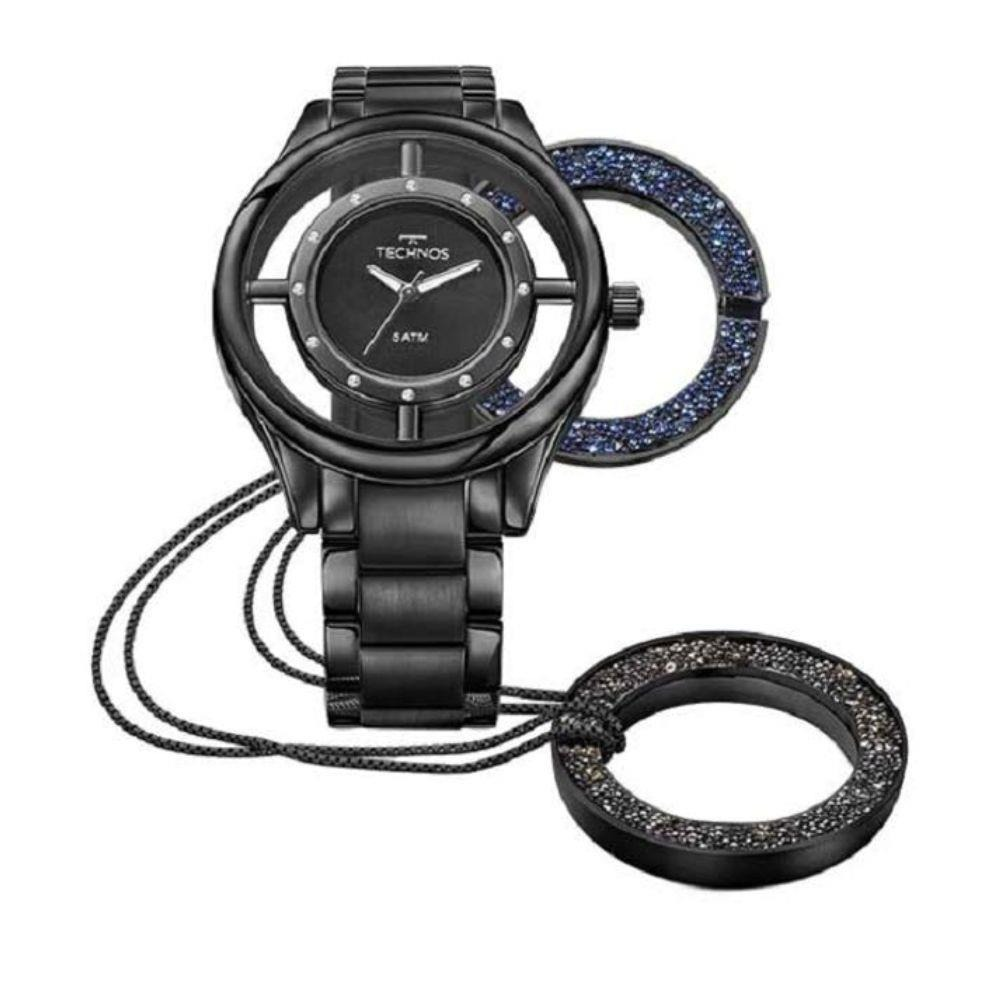 4948e2d2c23cd Relógio Technos Gl30fm 4p Gl30fm 4p Preto Kit Gargantilha - R  639 ...