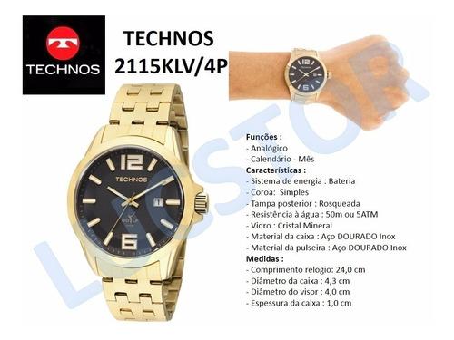 relógio technos golf 2115klv/4p dourado frete gratis e nf