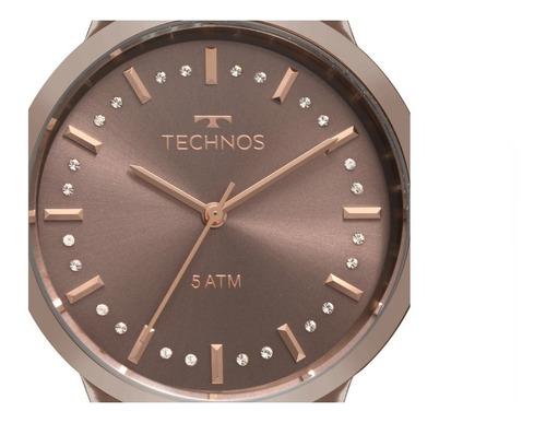 relógio technos icon marrom feminino 2036mju/4m original+nf